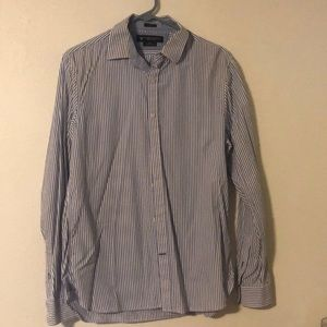 AE striped button down long sleeve shirt